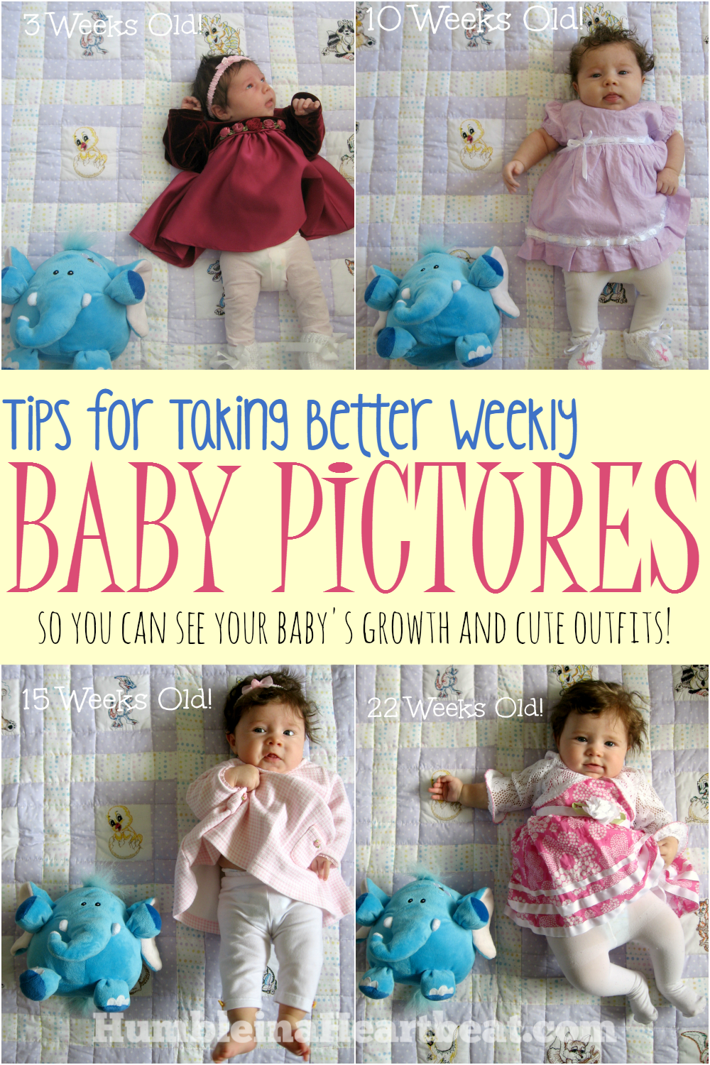 One way to track growth and all those clothes your baby will go through is to take weekly baby pictures for the 1st year. Here are some great tips for taking them!