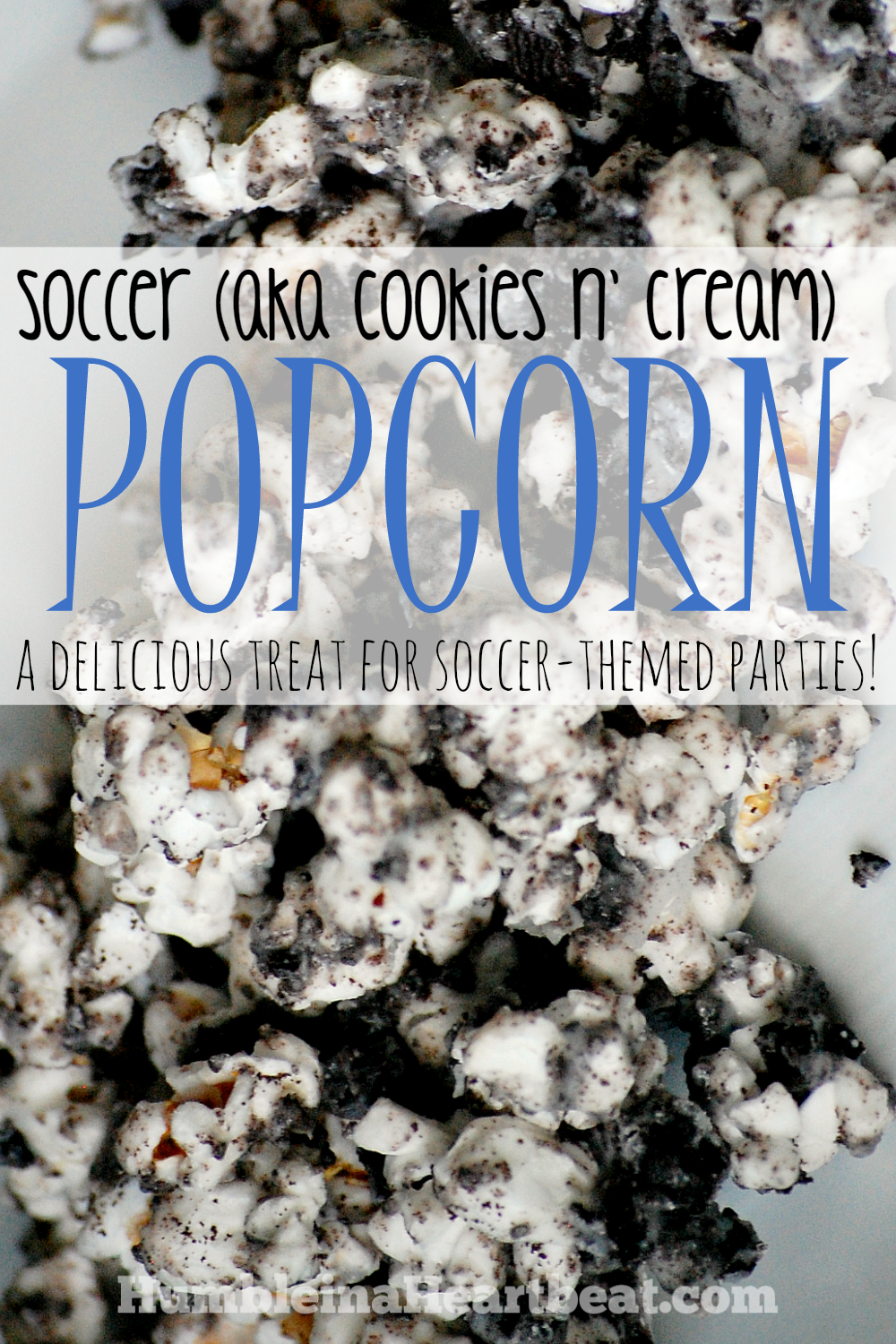 Cookies n' Cream Popcorn is the perfect snack for a soccer-themed party!