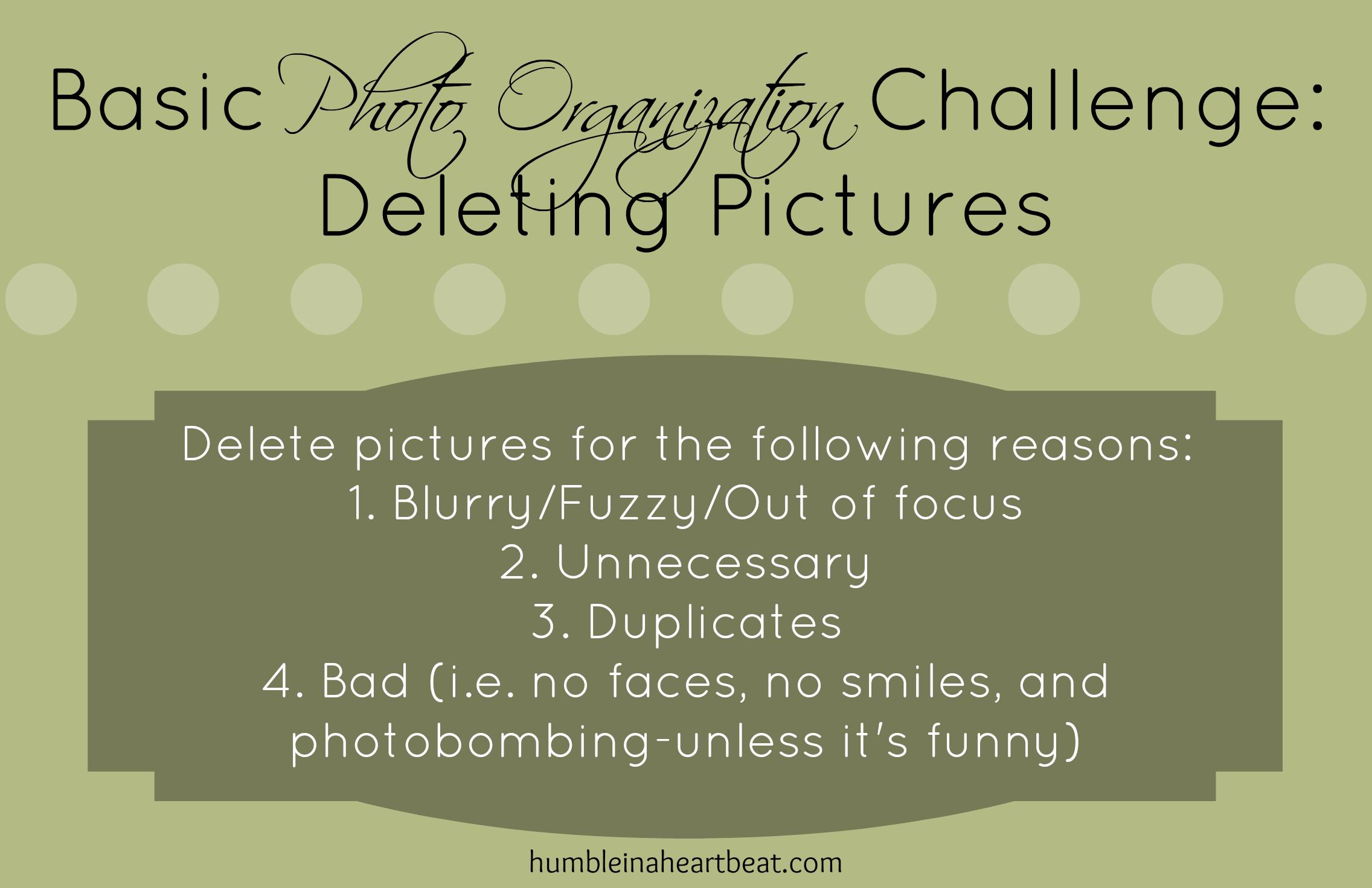 Basic Photo Organization Challenge: Deleting Pictures (part 2)