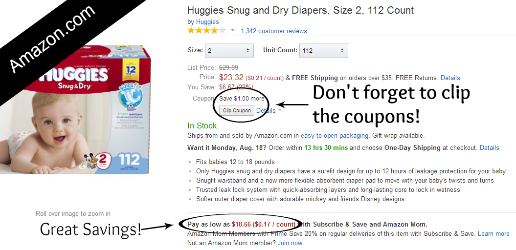 Ways to Save Money on Diapers at Amazon.com