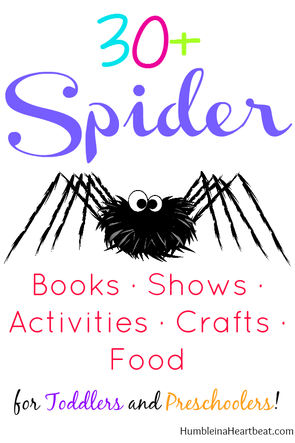 Here you'll find 30+ awesome links to all things spiders! Great for when you want to teach your toddler or preschooler about these 8 legged friends!