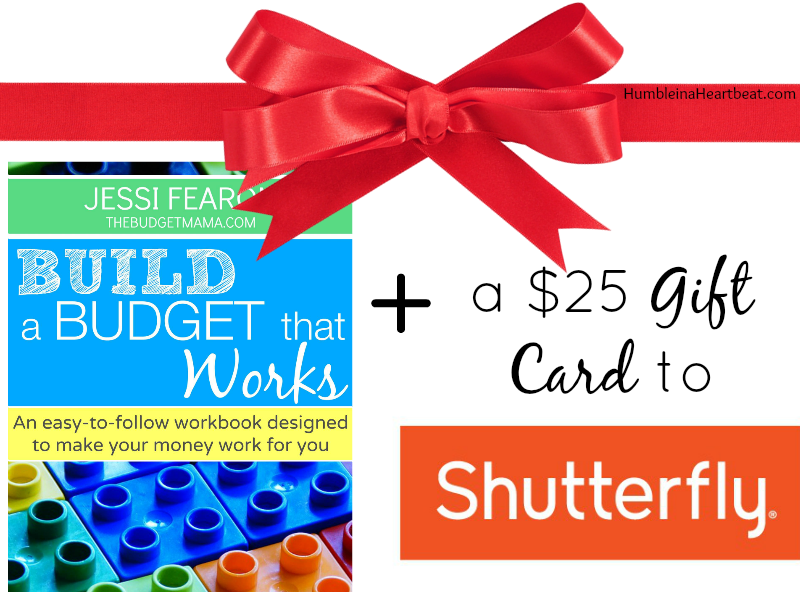 Enter for your chance to win the free workbook, Build a Budget that Works, as well as a $25 gift card for Shutterfly! Ends 11/24
