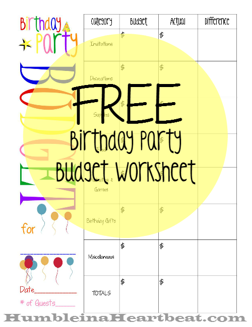 Free Printable Birthday Party Budget Worksheet - Great for sticking to a budget for your child's party!