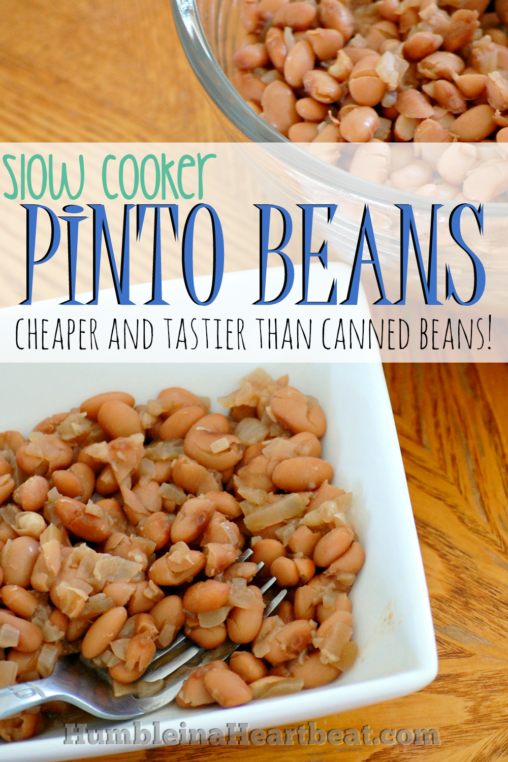 You have to make these slow cooker pinto beans. They're super versatile, tasty, and much cheaper than buying a can from the store!