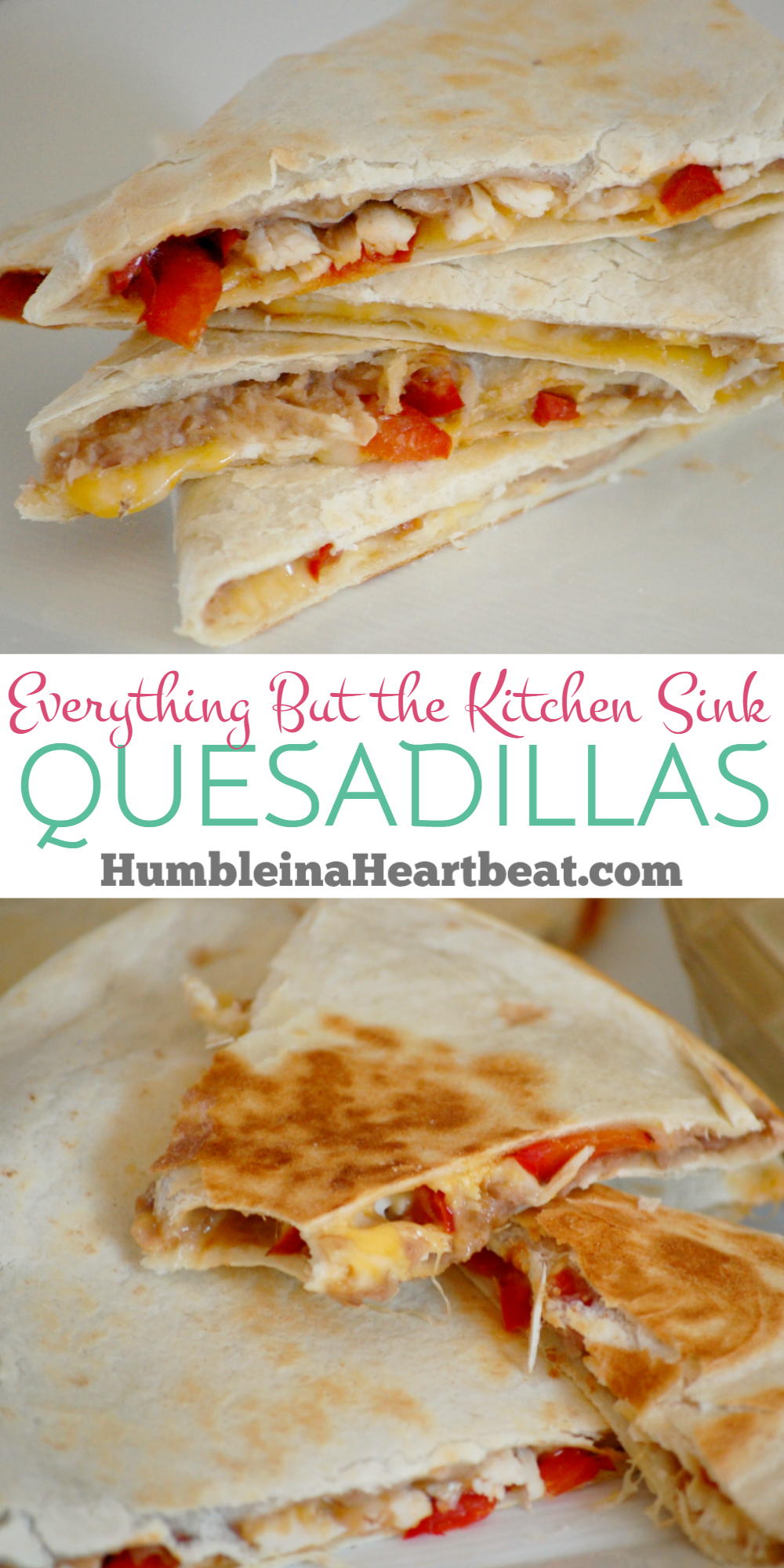 Everything But the Kitchen Sink Quesadillas are a great way to use up leftover food. Quick, easy, and very cheap to make! Oh, and they're kid approved!