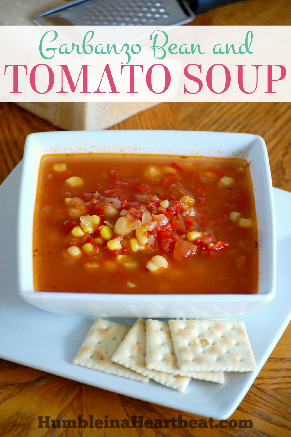 Garbanzo Bean and Tomato Soup - This soup is full of protein and delicious veggies, including red pepper, onions, and tomatoes. It's sure to be a hit with your entire family. SO delicious!