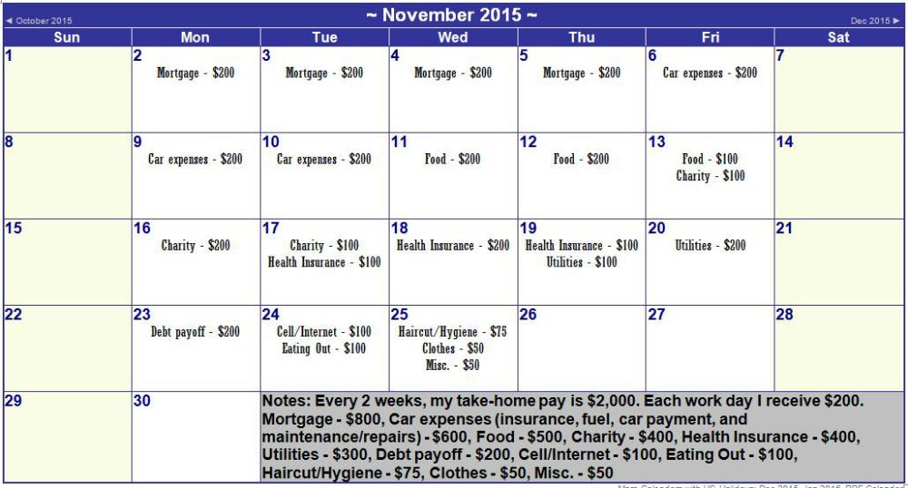 Evaluating Spending with a Calendar