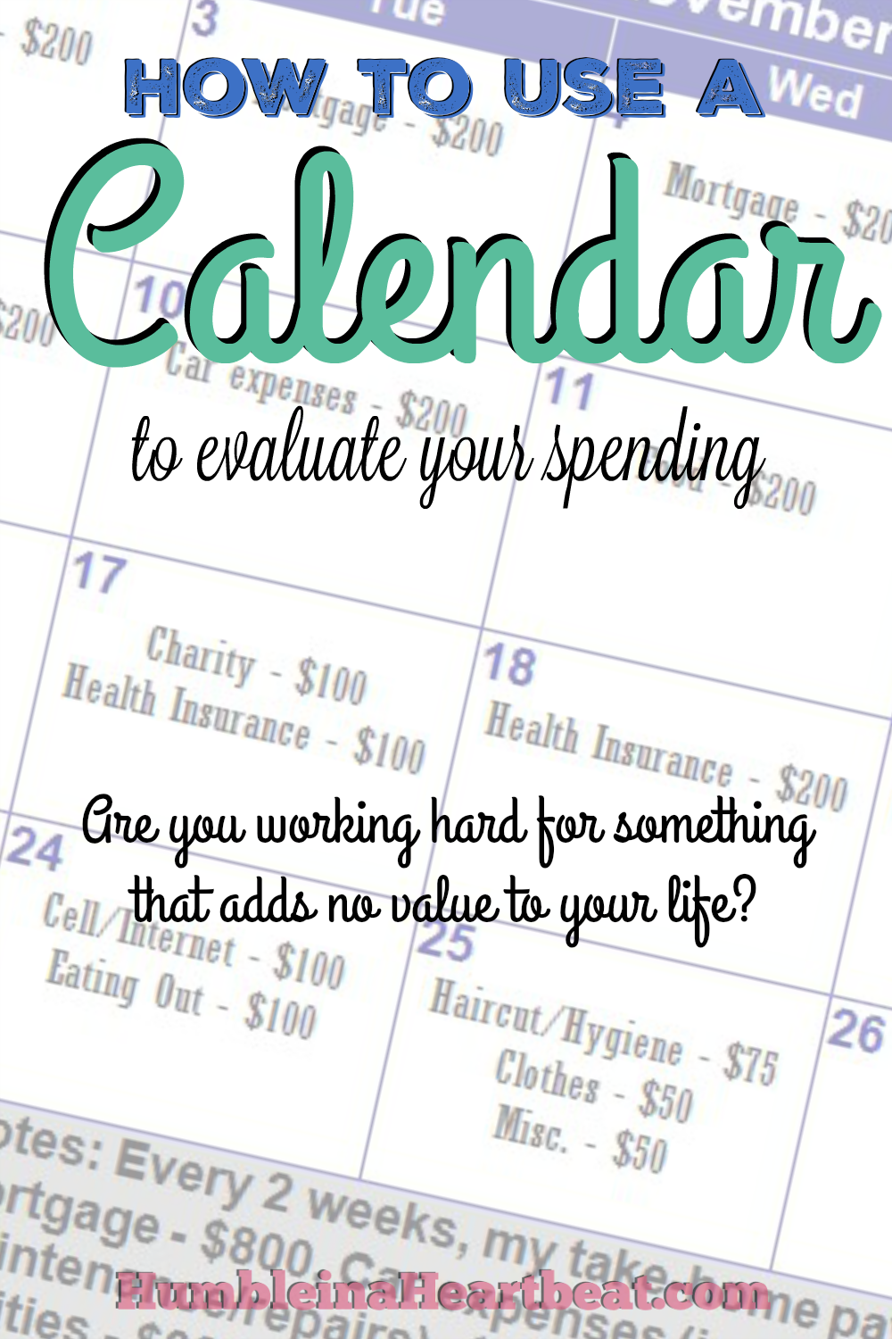 Your time is valuable. That's why you should be visually seeing how long it takes to make enough money to cover each of your expenses. Plotting your expenses on a calendar might just change your spending habits forever.