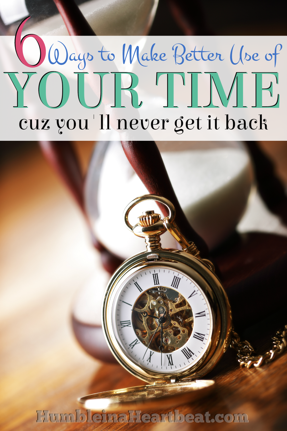 Time is a lot like money only, once you use it, you won't get it back. Here are 6 great ways to start managing your time!