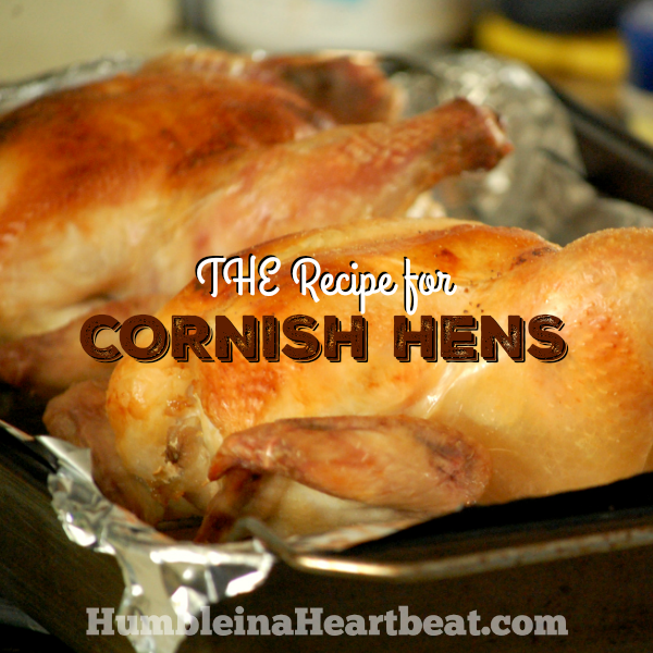 Cornish hens are a fabulous choice for a holiday meal, especially when it will be just a couple people and you don't want to spend too much on the main entrée. This recipe is the only one you'll ever need...it's that good!