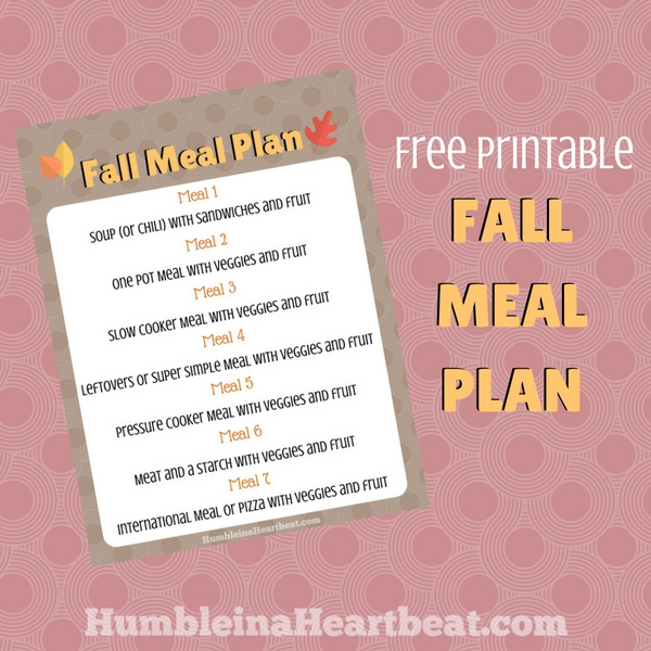 I really want to take advantage of all the fun stuff going on this fall. This fall meal plan printable will be so awesome to refer to each week as I plan out what we're going to have for dinner!