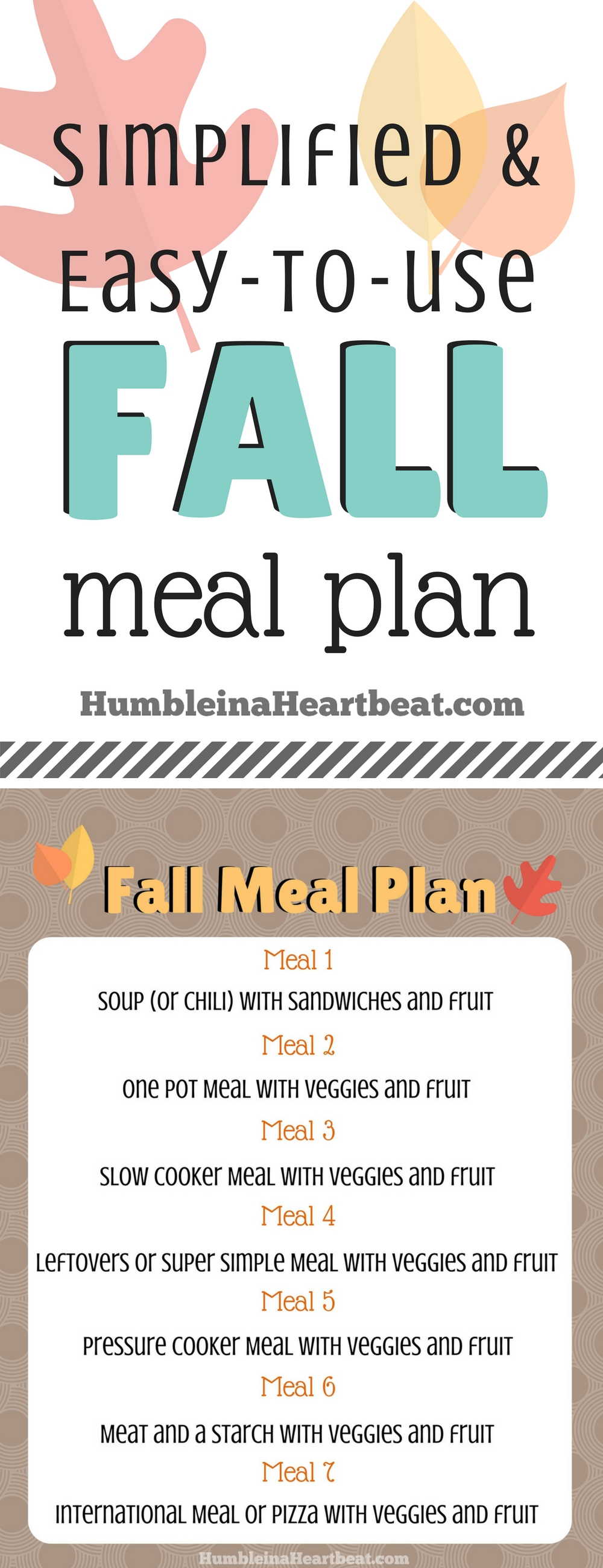 Fall is such a busy time of year so this rotatable meal plan will make my life way easier! Can't wait to print it out and use it!