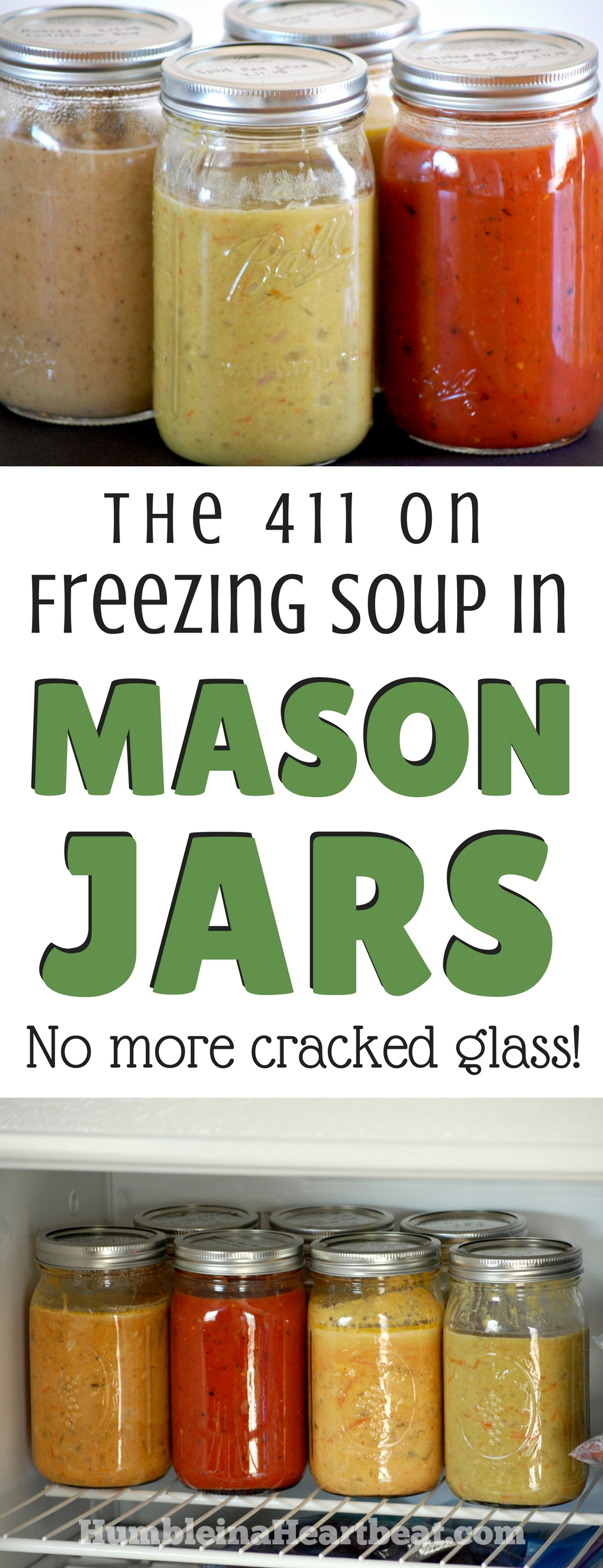 Ever tried freezing soup in a glass jar and wound up with cracked jars? Follow these amazing tips for freezing and thawing soup in mason jars and you won't find any more cracks. Promise! #soupseason #freezercooking #prepahead