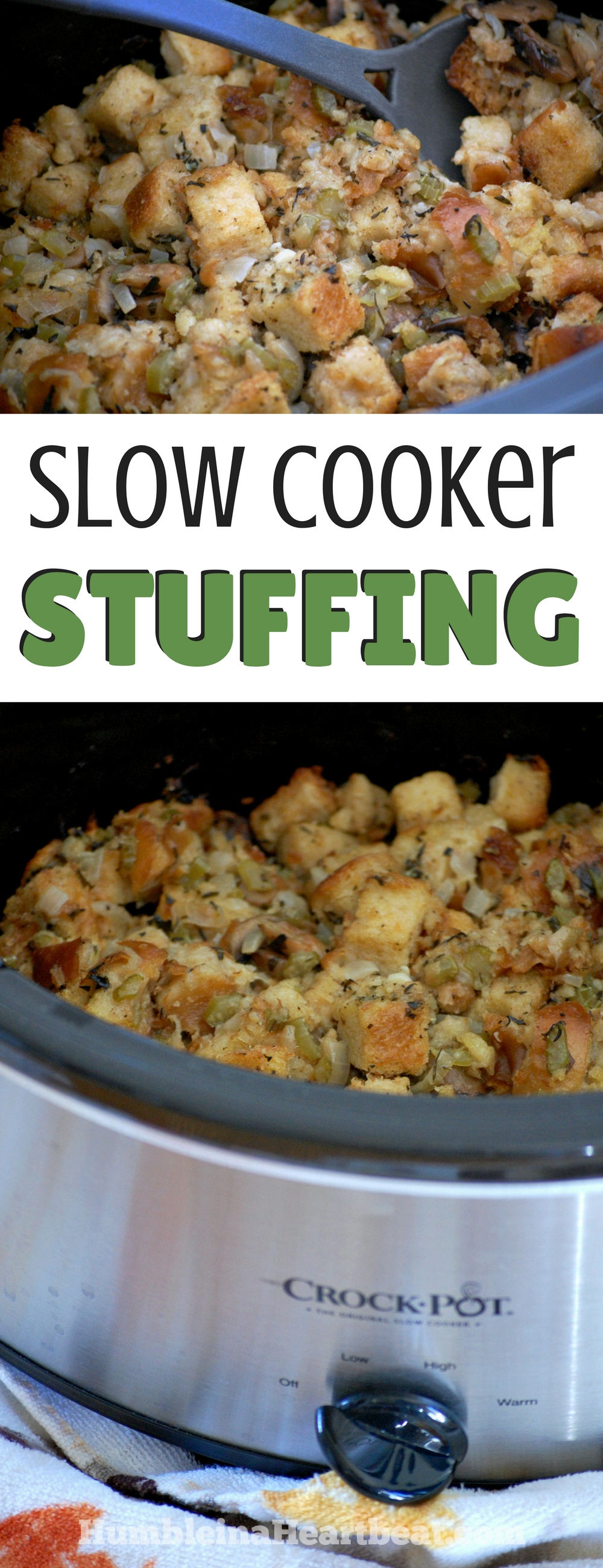 Your holiday meal just got easier with this prep ahead slow cooker stuffing. The perfect Thanksgiving {or Christmas} side dish! #slowcookerrecipes #sidedish #thanksgivingrecipes