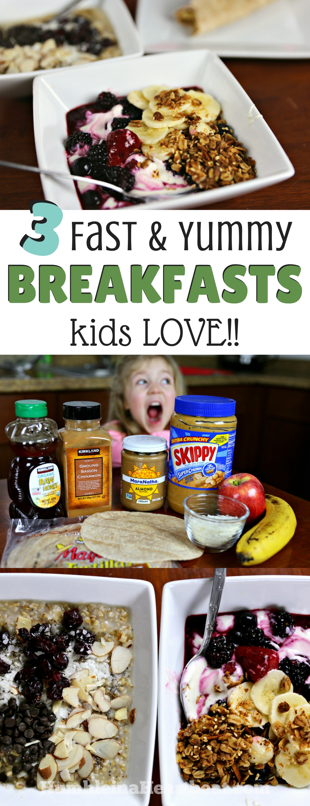 You can definitely eat nutritious breakfasts without spending tons of time in the kitchen. Check out these 3 frugal, easy, and totally yummy breakfast options that kids absolutely LOVE! #easybreakfasts #feedingkids #quickbreakfasts