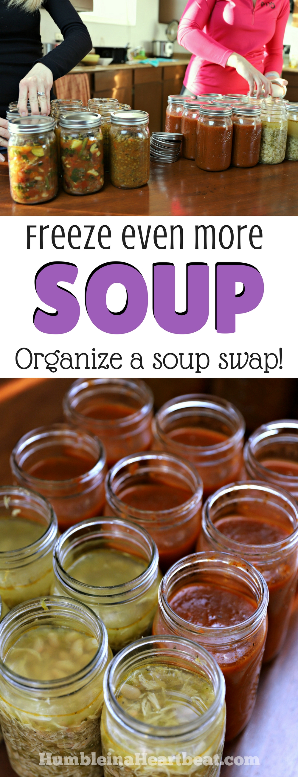 You need to get with your girlfriends and do a soup swap! It's so easy to organize, and you'll be able to stock your freezer with soup while getting some adult time with your friends!