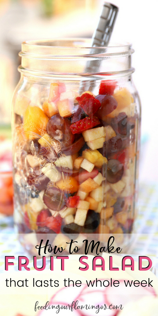 Few things in life are better than having healthy food ready when you need it most. That's why fruit salad in a jar is so genius. Keep a jar of fruit salad in the fridge at all times and your family will have no option but to eat it! #prepahead #fruitsalad #masonjar