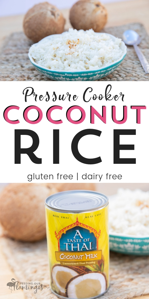 This creamy, savory coconut rice is so quick in your Instant Pot or pressure cooker and tastes crazy good with pretty much anything you pair it with! #rice #instantpot #easysidedish