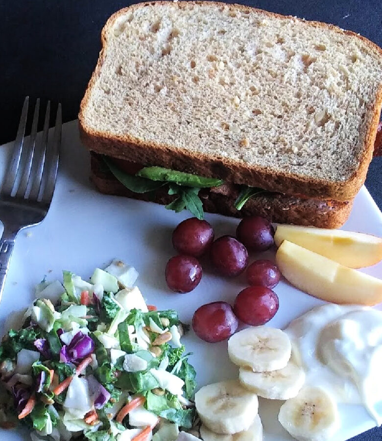 Quick and easy meals: the classic BLT with avocado, paired with a quick salad kit and some seasonal fresh fruit and yogurt